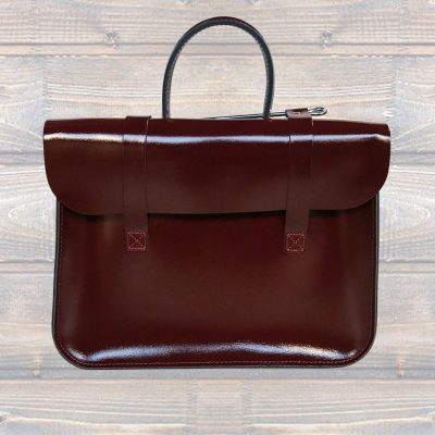 Leather Music Case – Patent Oxblood